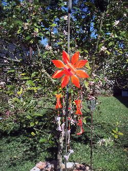 Red sunflower wind chime