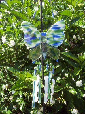 Blue & Green butterfly wind chime